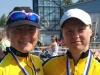 Heidi Hyvärinen (oik.) ja Merja Kiviranta ottivat sunnuntaina 3.7. kaksoisvoiton SM-triathlonin pikamatkalla Kokkolassa. Kilpailu ratkaistiin juoksu-osuudella. Merjan saavuttama hopeamitali oli hänelle jo kolmas SM-tason mitali kahden päivän sisällä. Perjantaina Merja otti pronssia SM-tempossa ja oli silloin mukana myös SM-kultaa voittaneessa joukkueessa.