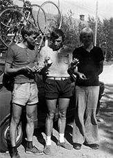 Kauhajoen SM-hopeajoukkue Matti Sivonen (vas), Bror Westerberg ja Keijo Savolainen.